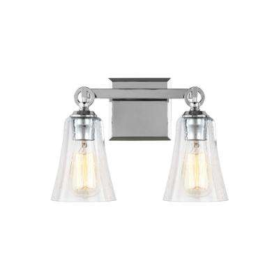 Monterro 13.5 in. W. 2-Light Chrome Bath Light