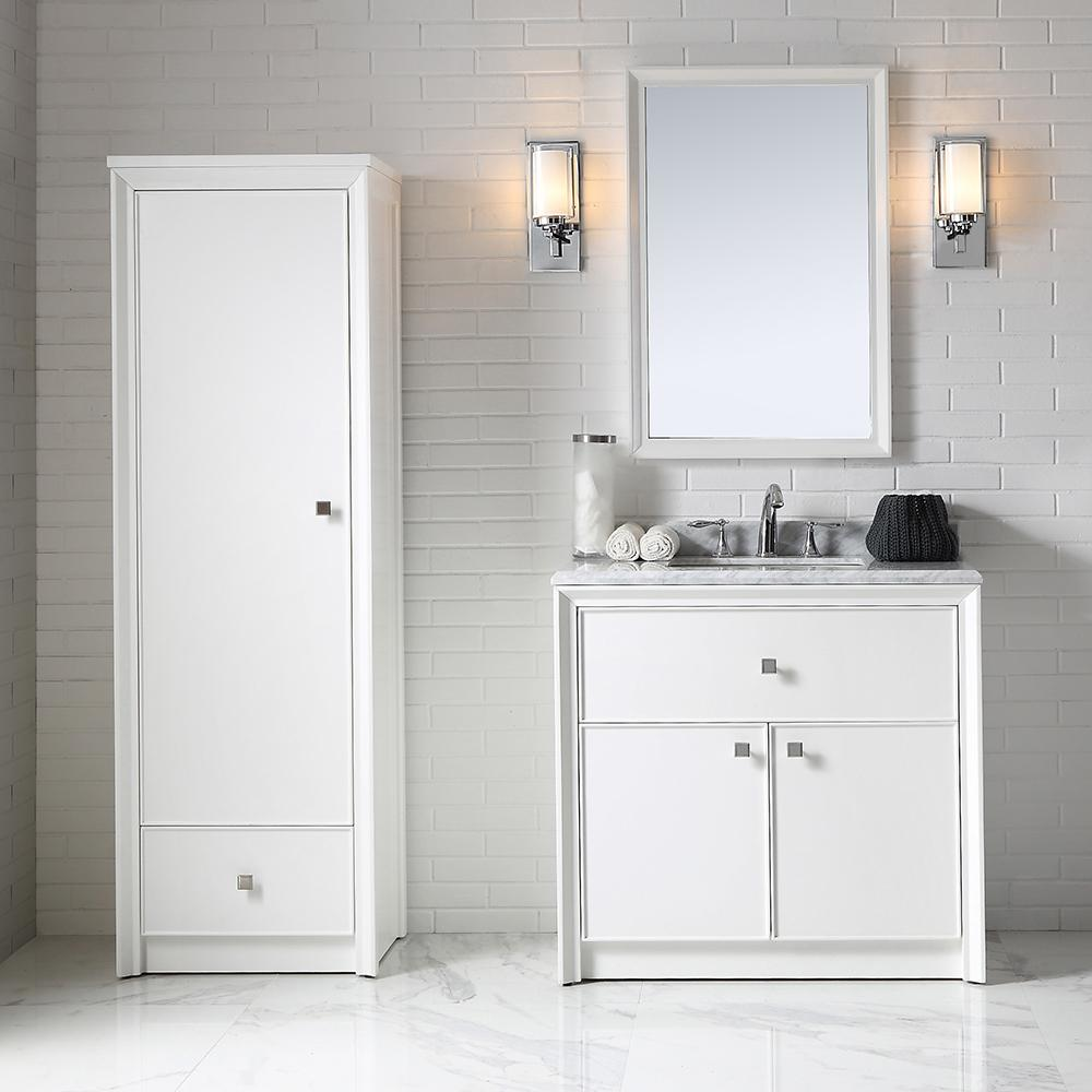 . Martha Stewart Living Parrish 36 in  W x 22 in  D Bath Vanity in Bright  White with Marble Top in Grey White
