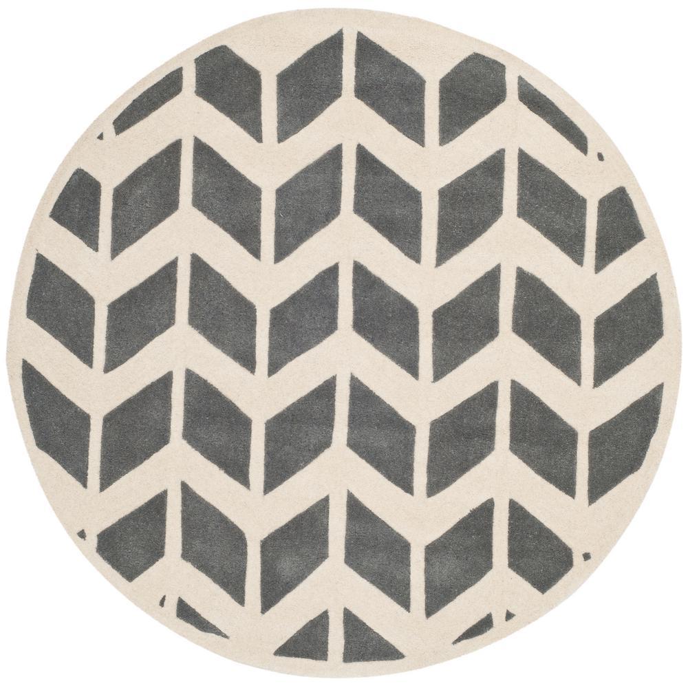 Safavieh Chatham Dark Gray/Ivory 5 ft. x 5 ft. Round Area...