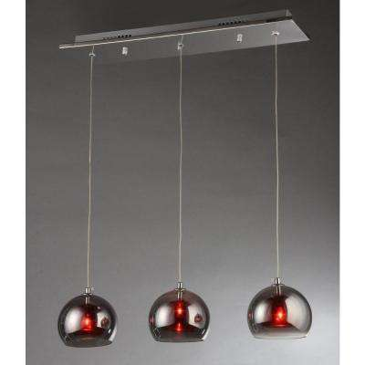 High Cole Crystal 3-Light Chrome Chandelier with Glass Shade