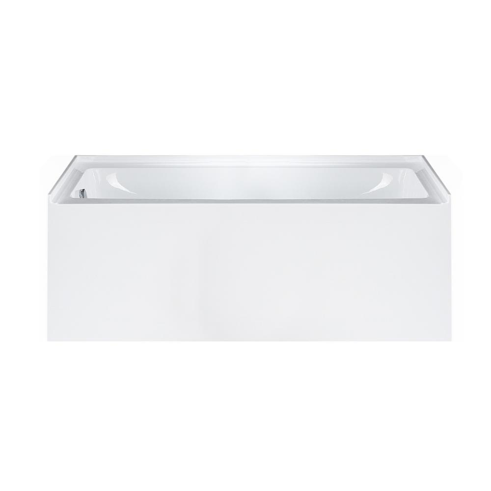 Maykke Pensacola 5 Ft Acrylic Left Drain Rectangular Alcove Non Whirlpool Bathtub In White XDA1415001