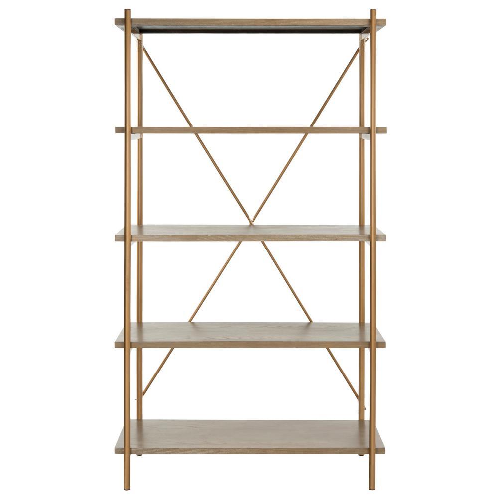 72 in. Rustic Oak/Gold Metal 5-shelf Etagere Bookcase with Open Back