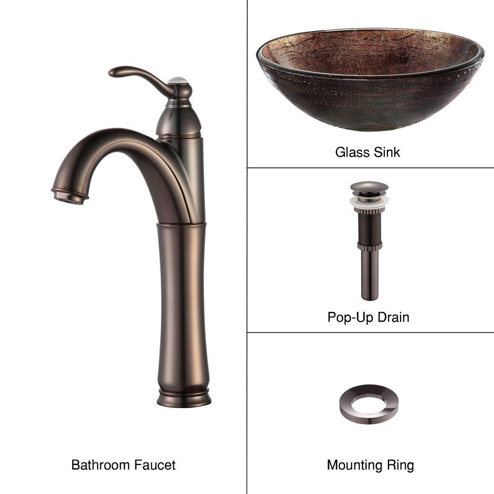 KRAUS Illusion Glass Vessel Sink in Brown with Riviera Faucet in Oil Rubbed  Bronze. KRAUS Illusion Glass Vessel Sink in Brown with Riviera Faucet in