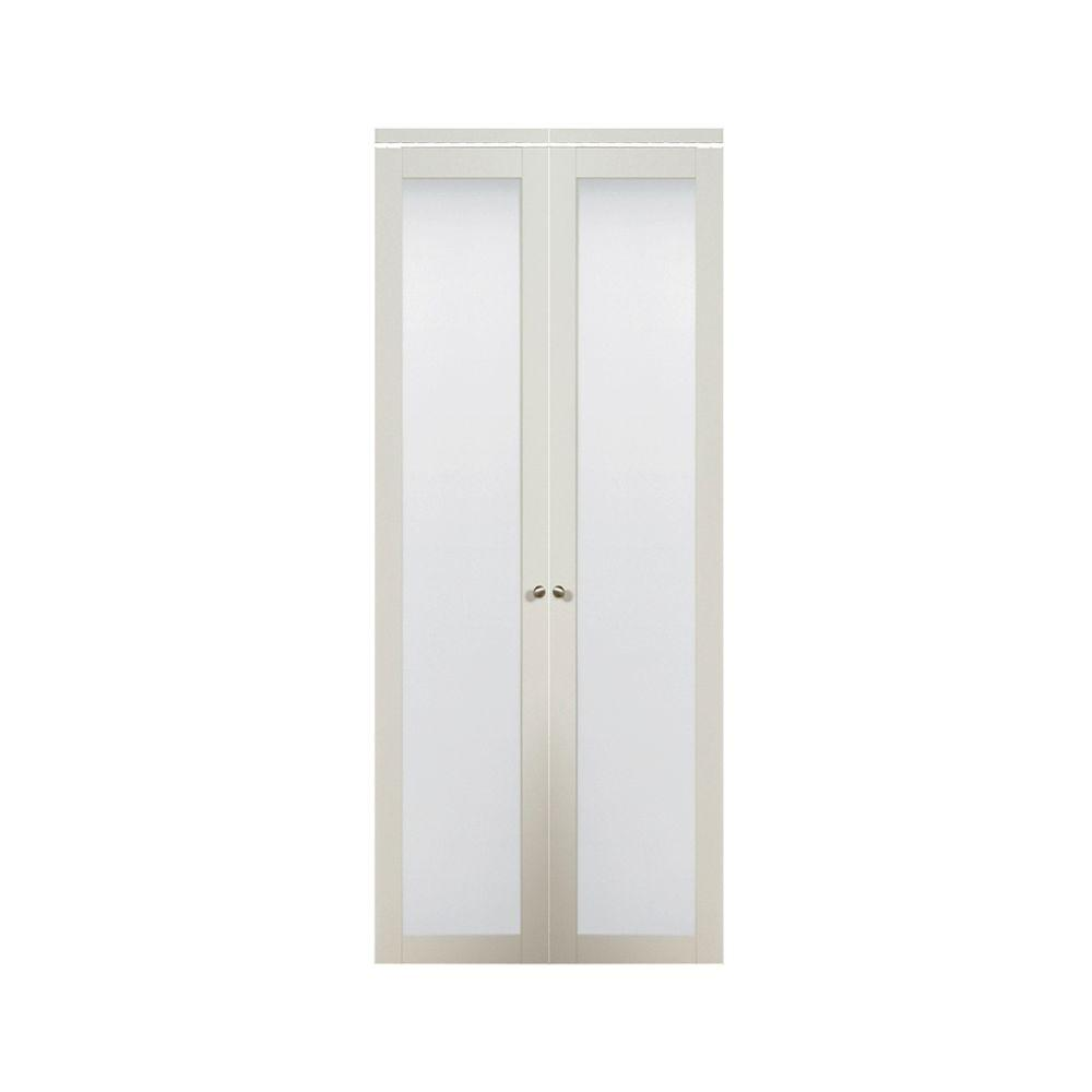 TRUporte 24 in. x 80 in. 3010 Series 1-Lite Composite Tempered Frost Glass Off White Interior Closet Wood Bi-Fold Door