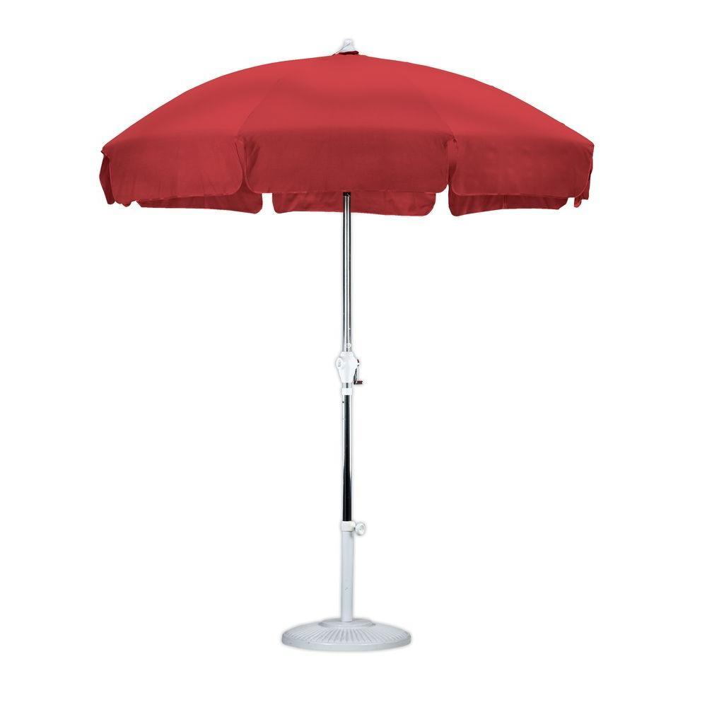 Amazing 7 1/2 Ft. Anodized Aluminum Push Tilt Patio Umbrella In Red Olefin