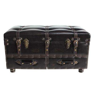 Brown Faux Leather Trunk