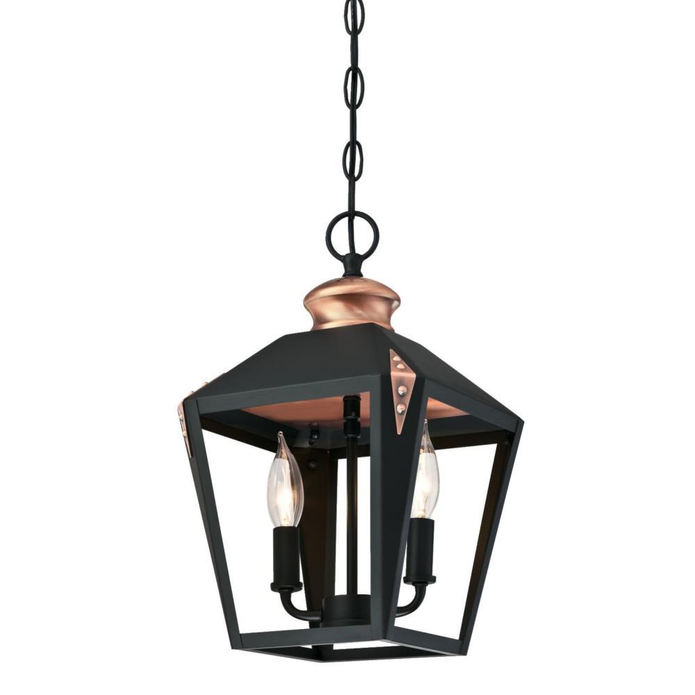 Westinghouse Valley Forge 2 Light Matte Black Finish Pendant With Copper Accents