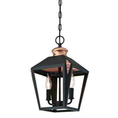 Valley Forge 2-Light Matte Black Finish Pendant with Copper Accents