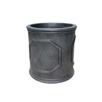 Medium 12.2 in. x 12.2 in. x 12.2 in. Black and Brush Siliver Color Lightweight Concrete British Frame Cylinder Planter
