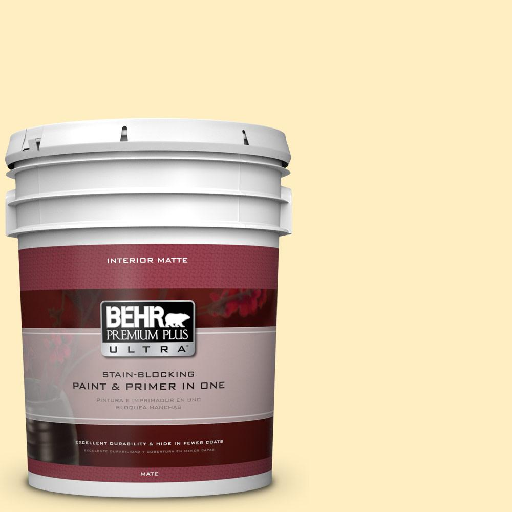 BEHR Premium Plus Ultra 5 gal. #380A-2 Moonlit Yellow Flat/Matte Interior Paint
