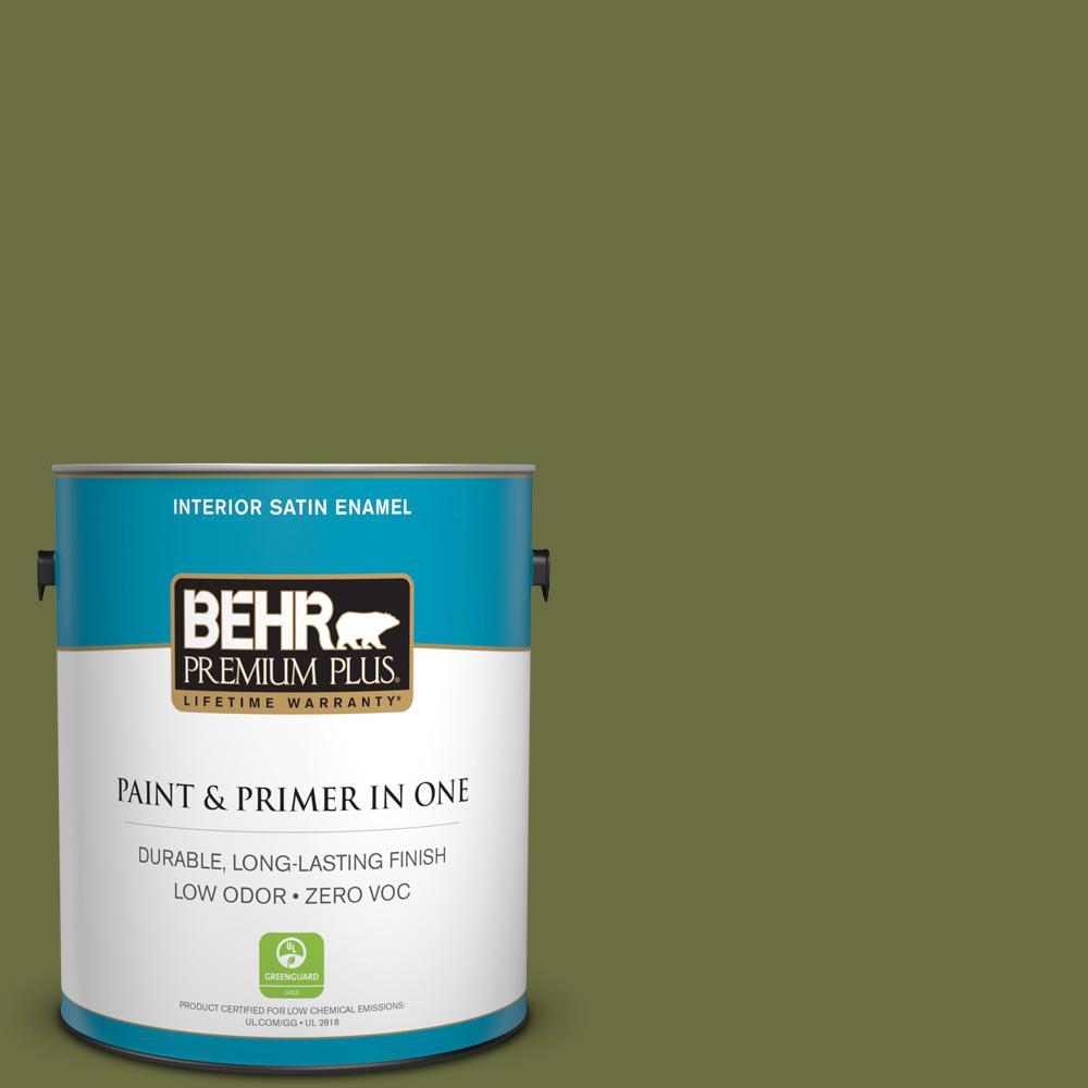 BEHR Premium Plus 1-gal. #400D-7 Jungle Trail Zero VOC Satin Enamel Interior Paint
