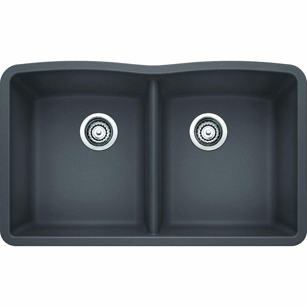Awesome Blanco Diamond Undermount Granite Composite 32 In. Equal Double Bowl  Kitchen Sink In Cinder 441470   The Home Depot