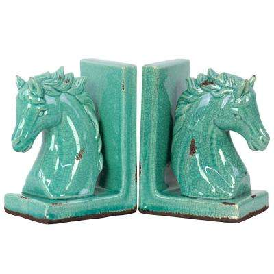 8.5 in. H Horse Decorative Sculpture in Blue Gloss Distressed Finish (Set of 2)