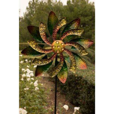 65 in. Tall Dual Action Floral Green/Orange Kinetic Wind Spinner Stake