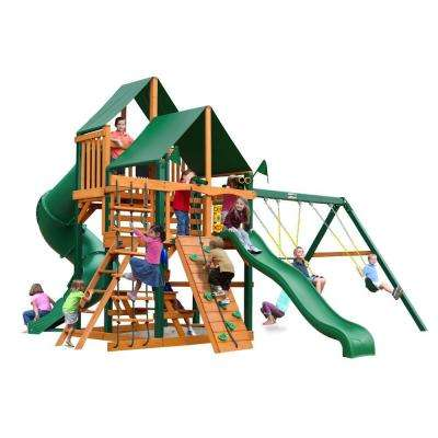 Great Skye I with Timber Shield and Sunbrella Canvas Forest Green Canopy Cedar Playset
