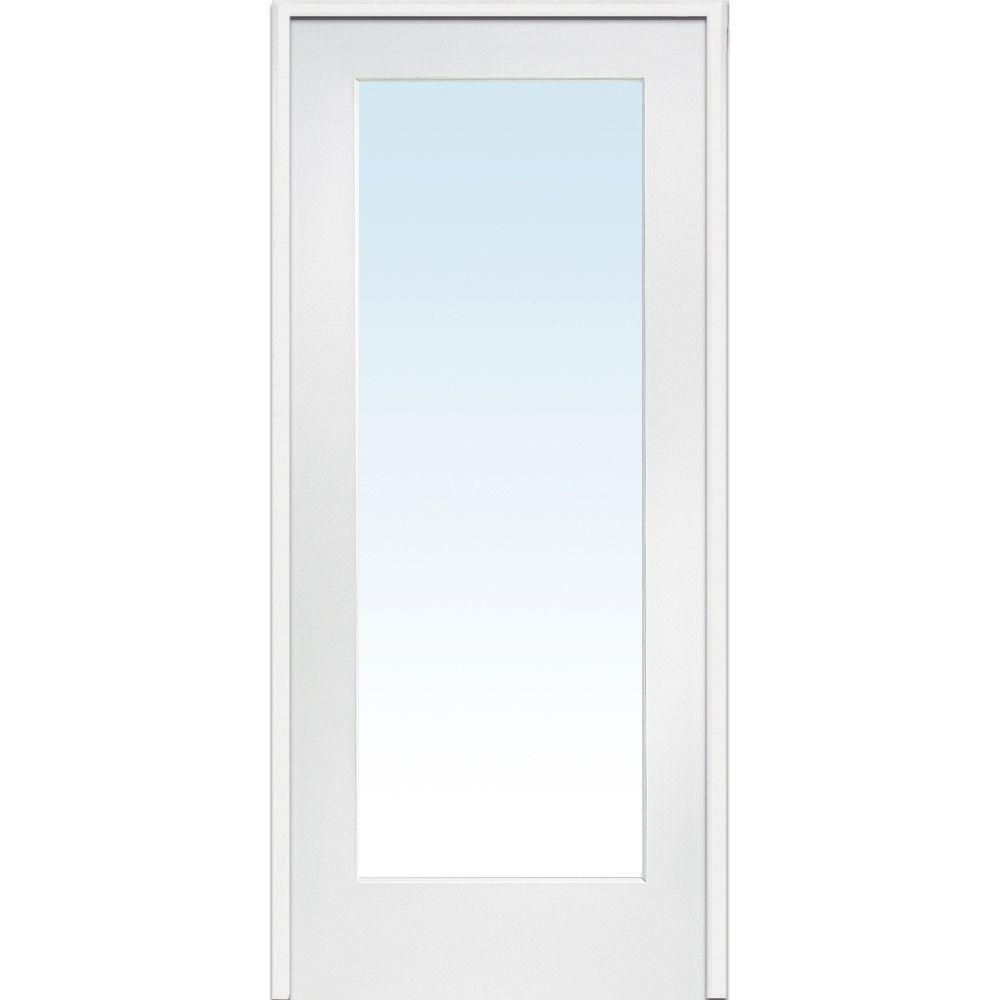 Mmi Door 30 In X 80 In Left Hand Primed Composite Glass Full Lite Clear Single Prehung