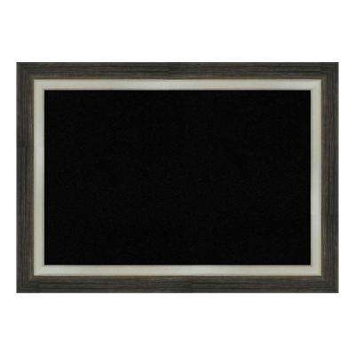 Brushed Metallic Wood Framed Black Cork Memo Board