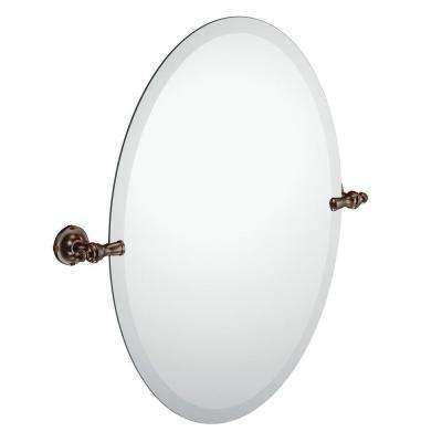 Gilcrest 26 in. x 23 in. Frameless Pivoting Wall Mirror in Oil-Rubbed Bronze