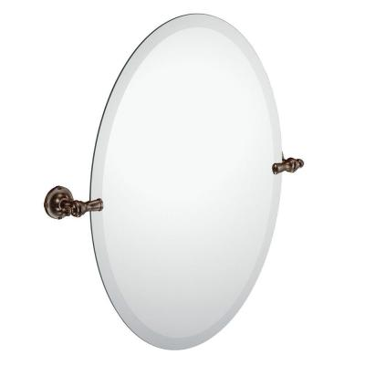 Gilcrest 26 in. x 23 in. Frameless Pivoting Wall Mirror in Oil Rubbed Bronze