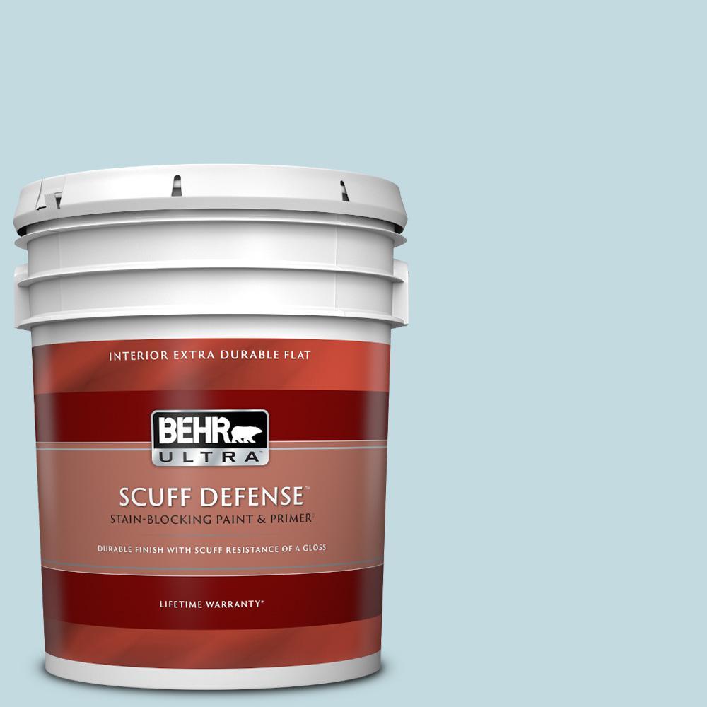 Behr Ultra 5 Gal S480 1 Rain Dance Extra Durable Flat Interior Paint Primer 172005 The Home Depot