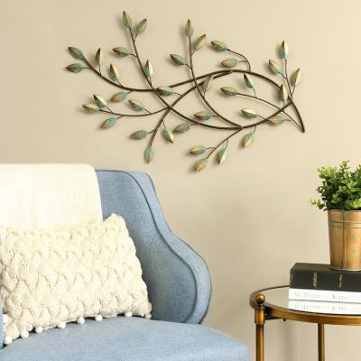 Patina Blowing Leaves Metal Wall Decor