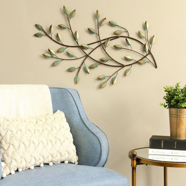 0066762c9a Stratton Home Decor Patina Blowing Leaves Metal Wall Decor S09581 ...