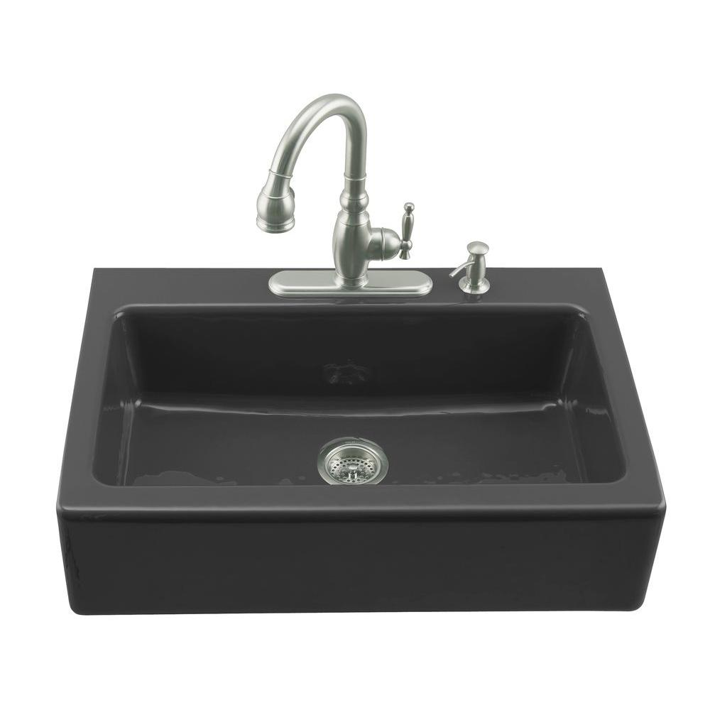 KOHLER Dickinson Farmhouse Undermount Farmhouse Apron-Front Cast ...