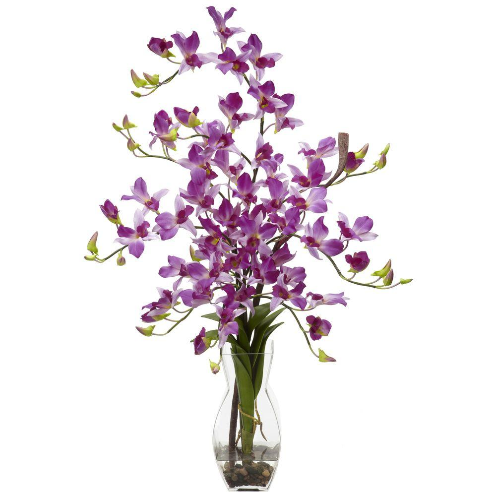 35 In H Purple Dendrobium With Vase Silk Flower Arrangement 1190 Pp