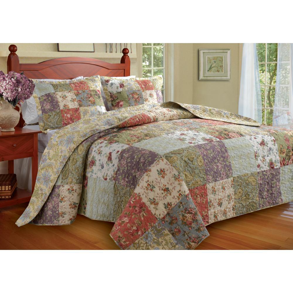 Blooming Prairie Bedspread Set, 3-Piece Queen