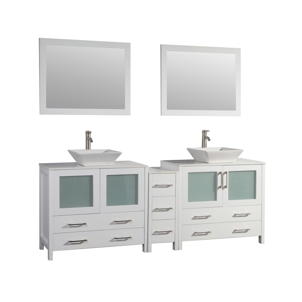 Vanity Art Ravenna 84 in. W x 18.5 in. D x 36 in. H Bathroom Vanity in White with Double Basin Top in White Ceramic and Mirrors