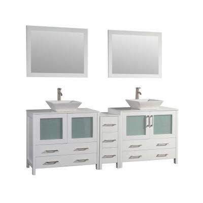 Ravenna 84 in. W x 18.5 in. D x 36 in. H Bathroom Vanity in White with Double Basin Top in White Ceramic and Mirrors