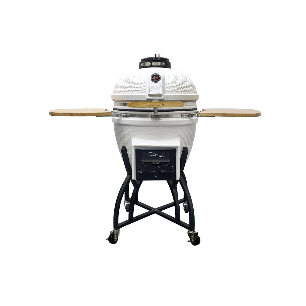 Vision Grills Kamado Professional Ceramic Charcoal Grill in White with Grill Cover