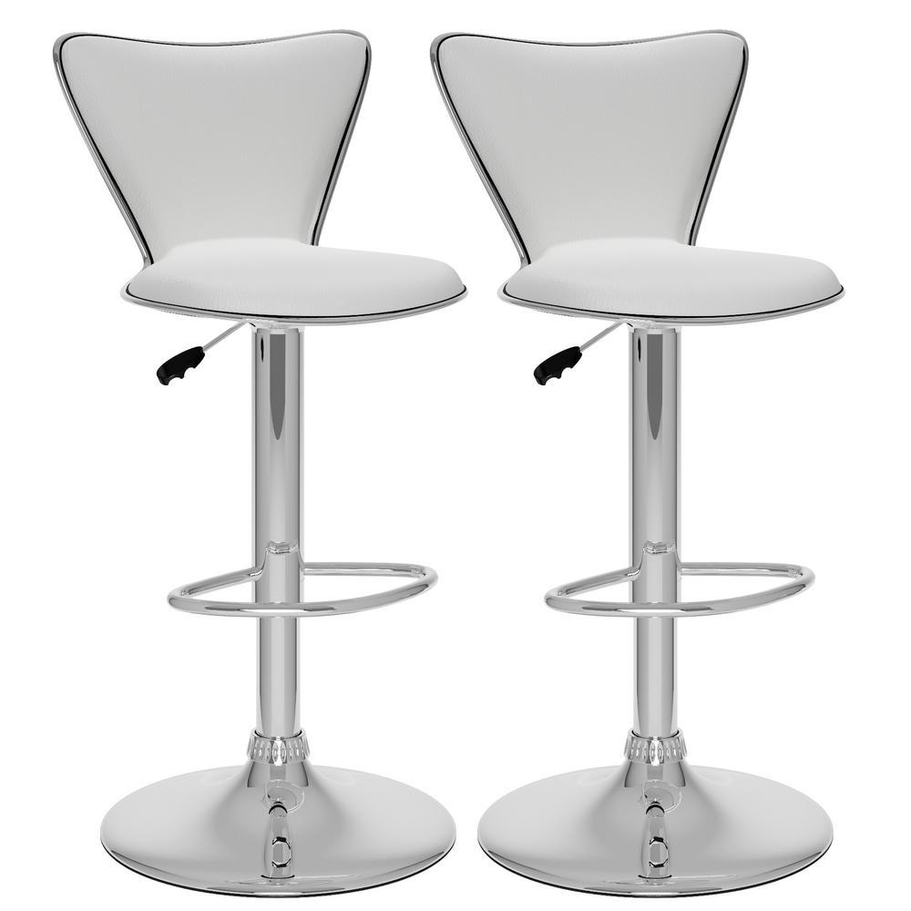 Adjustable White Leatherette Tall Curved Back Bar Stool (Set of 2)