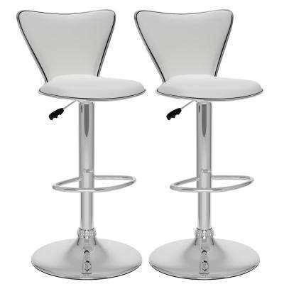 Adjustable White Leatherette Tall Curved Back Bar Stool (Set of 2)