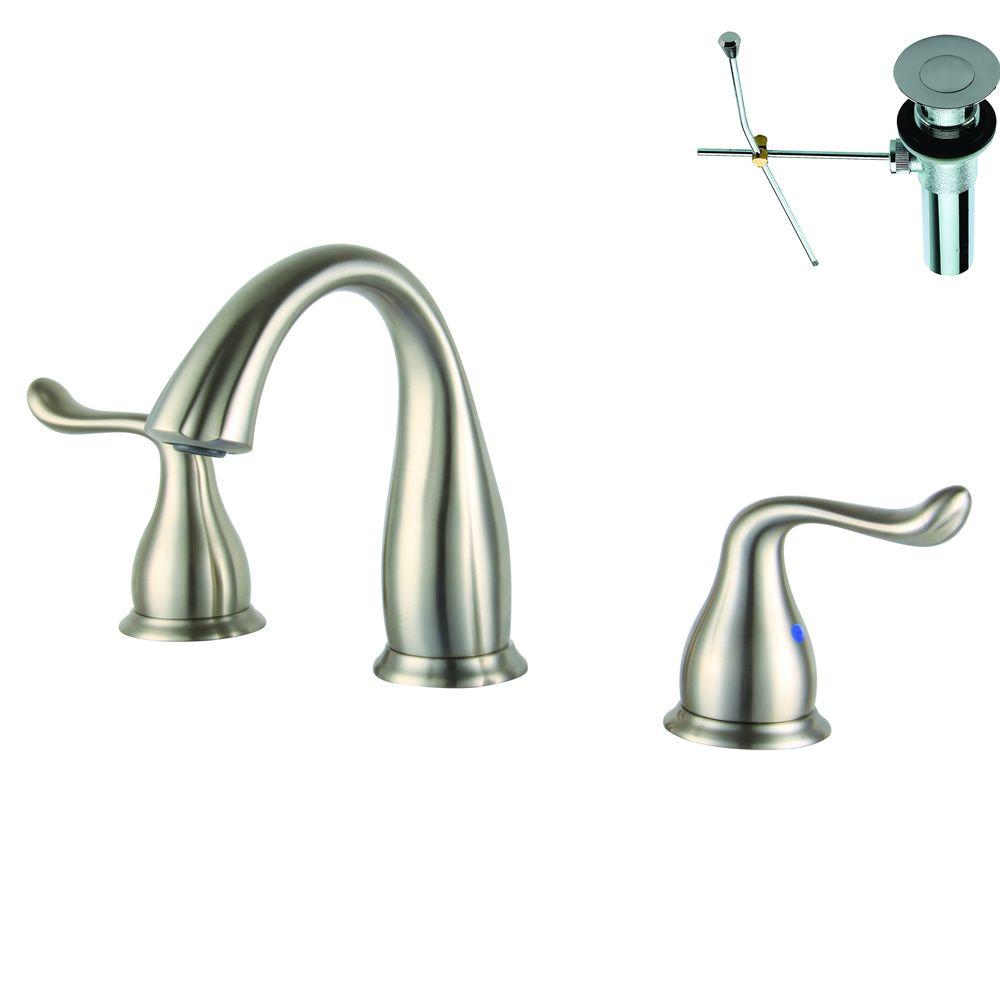 Yosemite Home Decor 8 in. Widespread 2-Handle Bathroom Faucet in Brushed Nickel with Pop-Up Drain