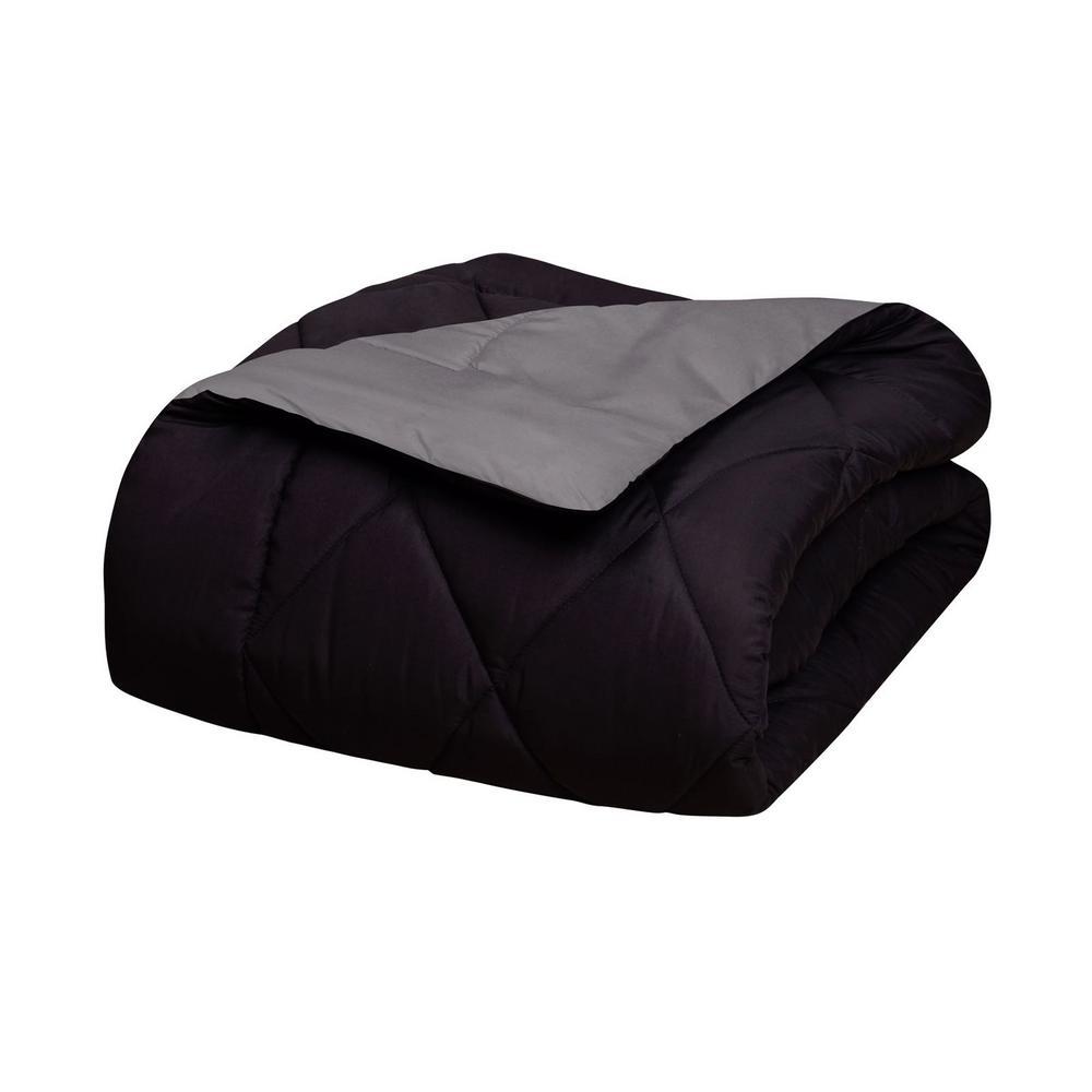 ElegantComfort Elegant Comfort 3-Piece Black/Gray Full/Queen Comforter Set