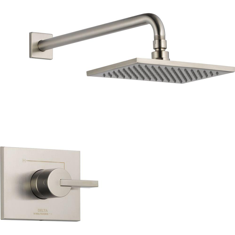 Delta Vero 1-Handle 1-Spray Raincan Shower Faucet Trim Kit in Stainless (Valve Not Included)