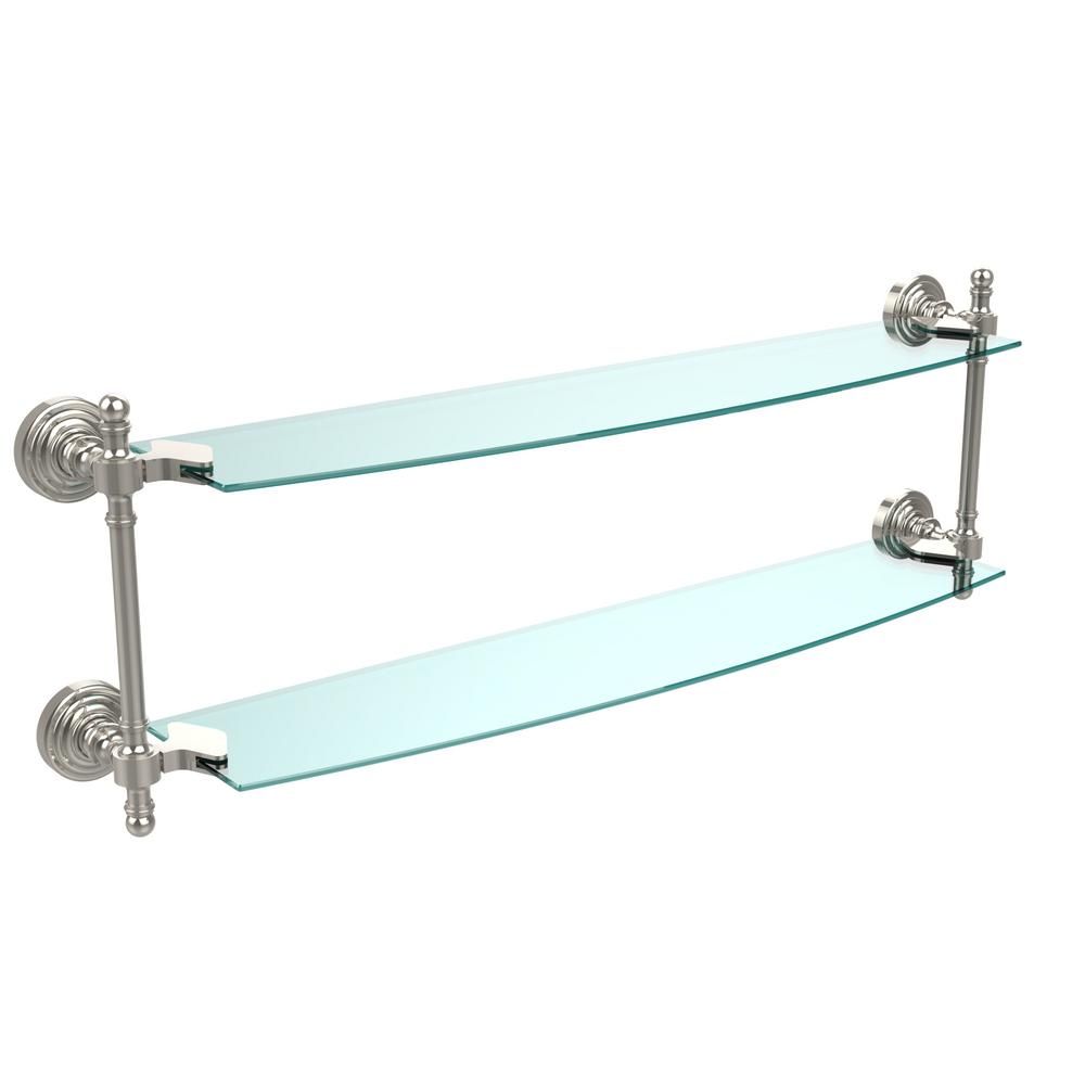 Retro Wave Collection 24 in. Two Tiered Glass Shelf in Polished