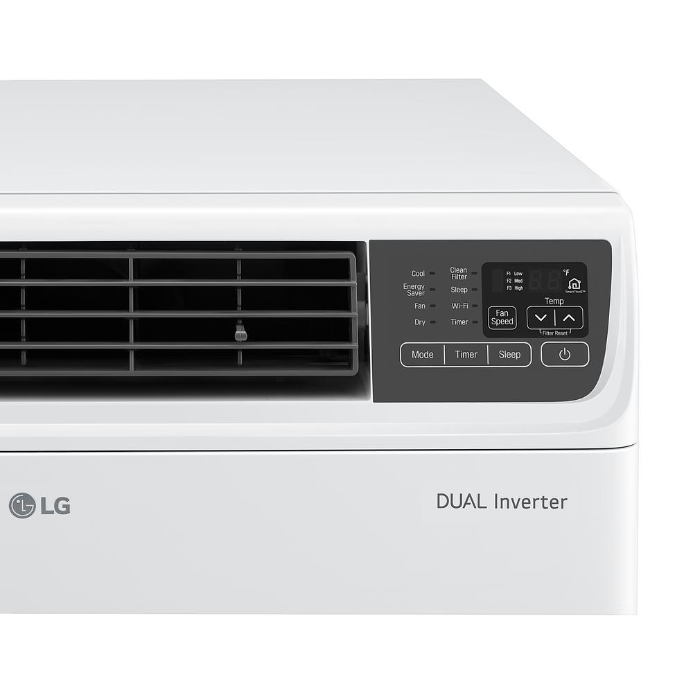 Lg Electronics 18 000 Btu Dual Inverter Smart Window Air Conditioner With Wi Fi Enabled And Remote In White
