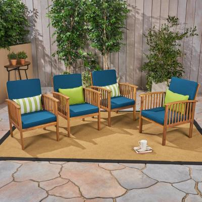 Casa Acacia Brown Patina Wood Outdoor Lounge Chairs with Dark Teal Cushions (4-Pack)
