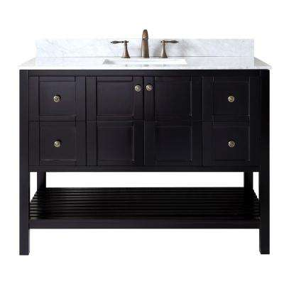 Winterfell 48 in. W x 22 in. D Single Vanity in Espresso with Marble Vanity Top in White with White Basin