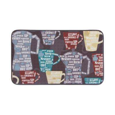 Fun Coffee Anti-Fatigue 20 in. x 36 in. Faux Leather Kitchen Mat