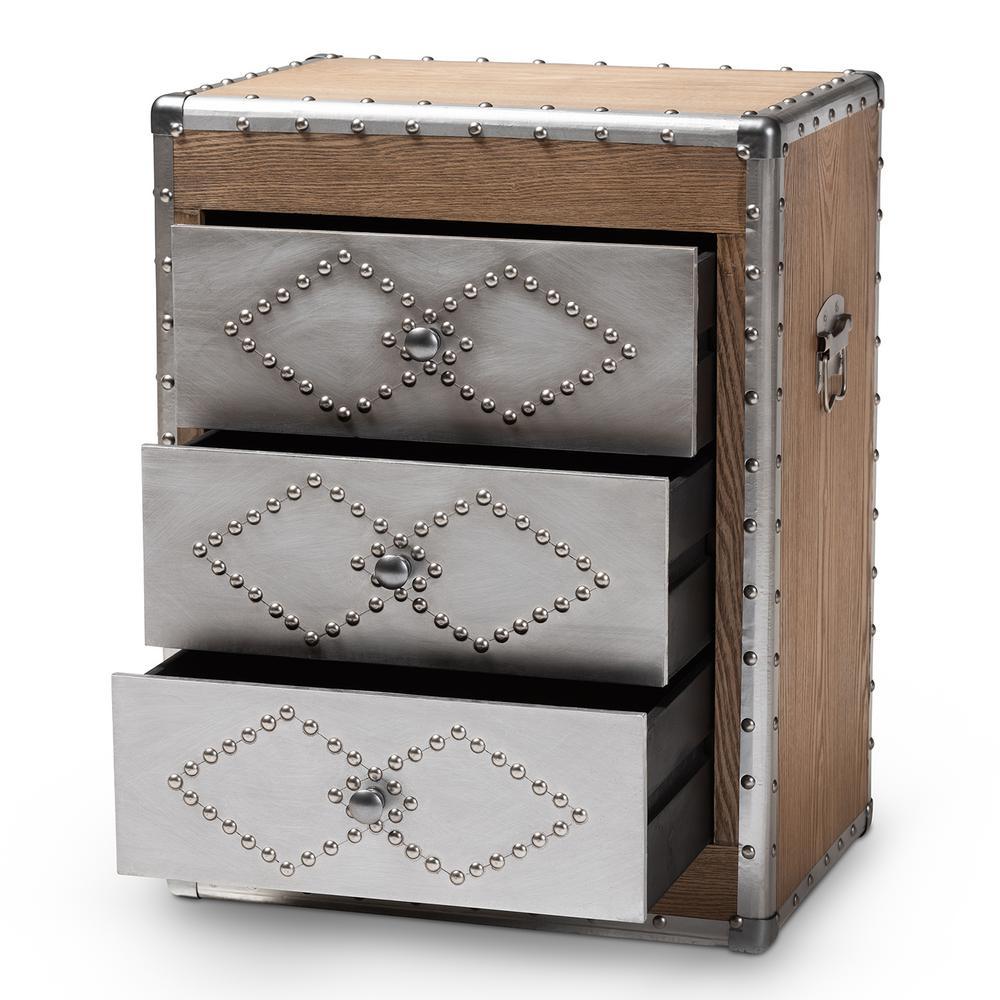 Swell Baxton Studio Audric 3 Drawer Sliver And Golden Oak Chest Machost Co Dining Chair Design Ideas Machostcouk