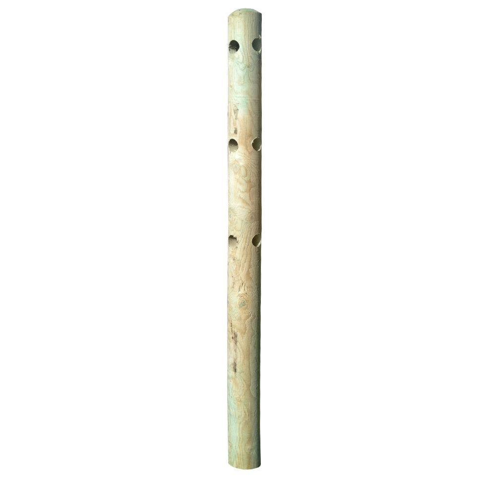 5 in. x 5 in. x 6-1/2 ft. Pressure-Treated Pine 3-Hole Round Fence ...