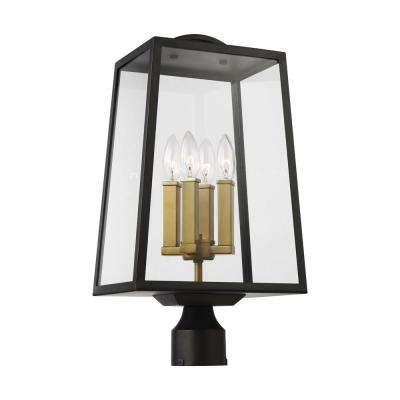 Lindbergh 4-Light Outdoor Antique Bronze and Painted Burnished Brass Post Light