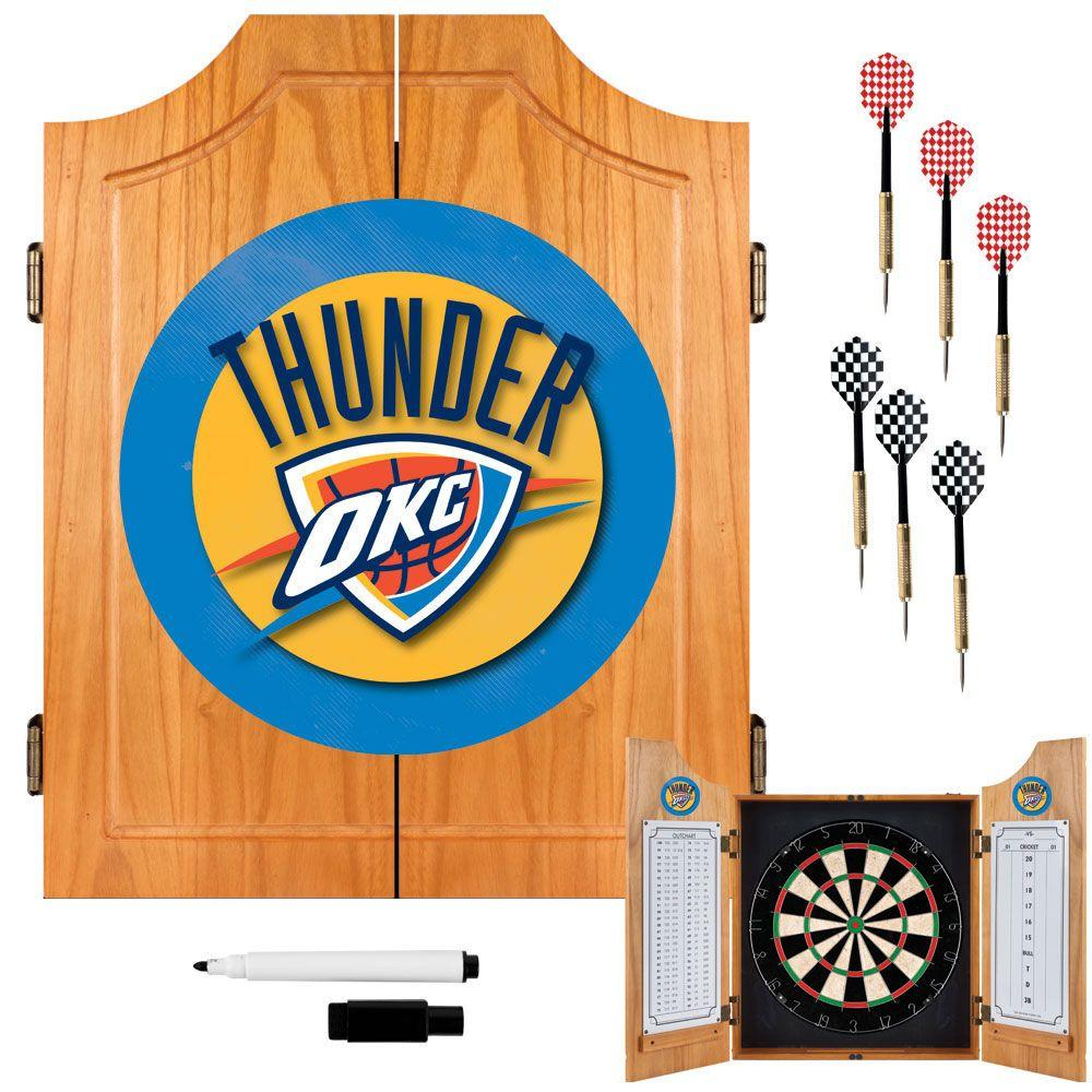 NBA Oklahoma City Thunder Wood Finish Dart Cabinet Set