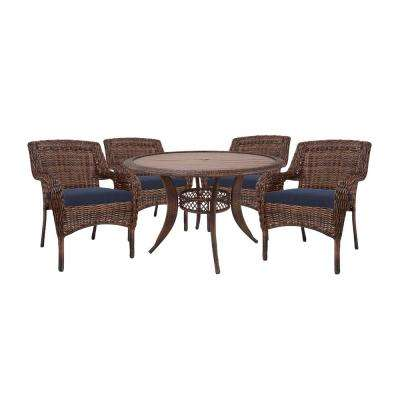 Cambridge Brown Round Resin Wicker Outdoor Dining Table with Faux Wood Table Top