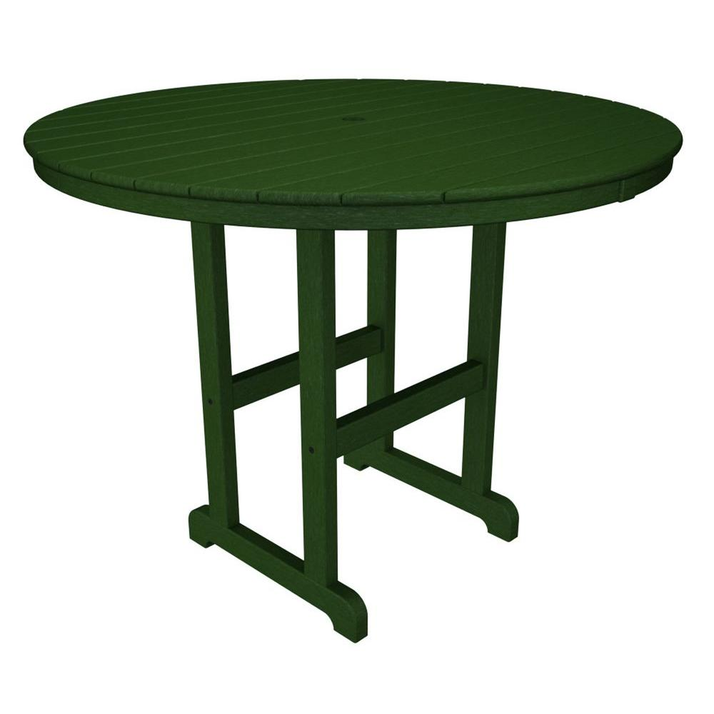 La Casa Cafe 48 in. Green Round Plastic Outdoor Patio Counter