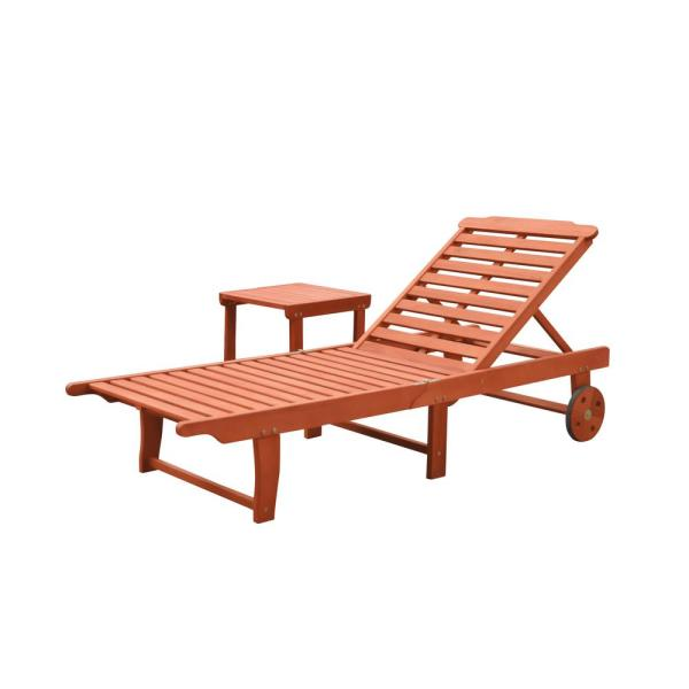 Malibu 2-Piece Wood Outdoor Chaise Lounge