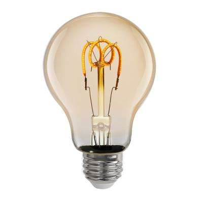 25-Watt Equivalent AT19 Dimmable Amber Glass Vintage Edison LED Light Bulb with W-Type Filament Soft White (1-Bulb)